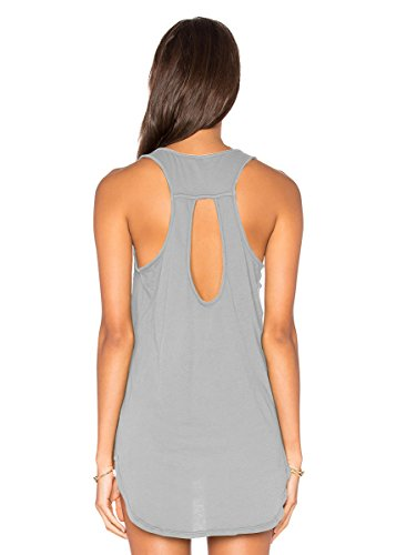 Yucharmyi Women's Basic Jersey Racer-Back Tank Top with Scallop Bottom Racerback Tank Tops Sexy Sleeveless Blouse Casual Loose Tank (Gray, XS)