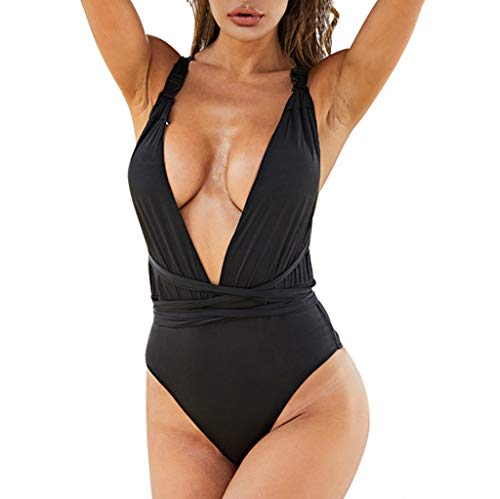 Genutery Sexy Swimsuits for Women, Solid Color Backless Deep V Neckline Bikini Swimwear Plus Size Sexy Push Up Swimsuit Black]()