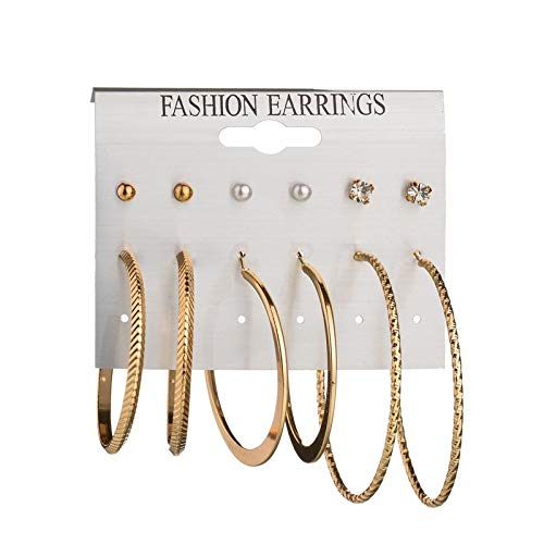 - Redvive Top Fashion Earrings Ear Ring Set Combination Of 6 Sets of large circle