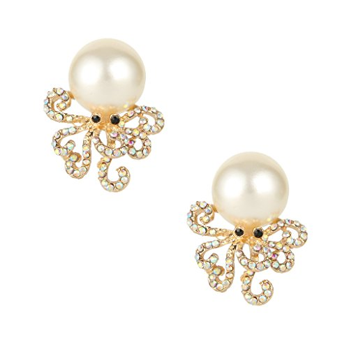 EVER FAITH Octopus Simulated Pearl Iridescent Clear AB Austrian Crystal Stud Earrings by EVER FAITH