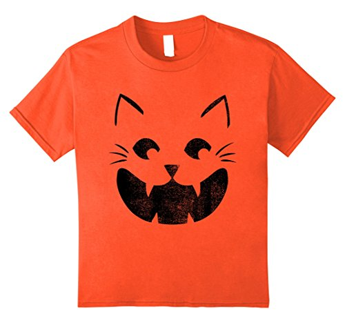Kids Cat Pumpkin Face Halloween Costume Jack O Lantern T-shirt 8 (Pumpkin Face Halloween Costume)