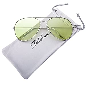 The Fresh Classic Metal Frame Light Color Lens XL Oversized Aviator Sunglasses with Gift Box (2-Silver, Green)