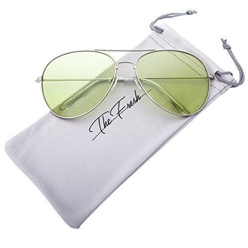 The Fresh Classic Metal Frame Light Color Lens XL Oversized Aviator Sunglasses with Gift Box (2-Silver, ()
