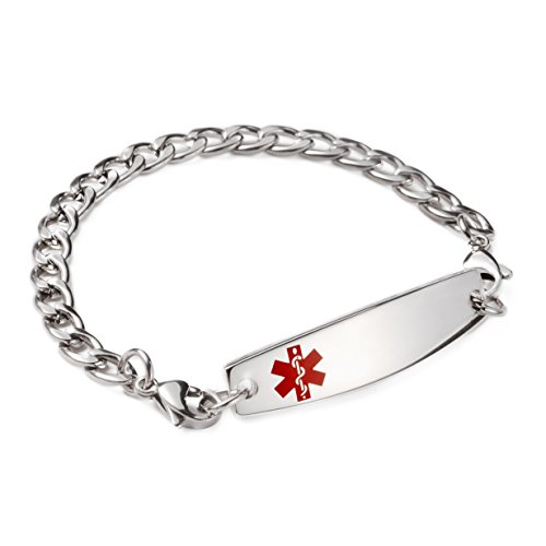 Figaro Style Medical Id Bracelet - LinnaLove Stainless steel Figaro Chain Interchangeable medical alert bracelets-Free engraving(1346/7.5)