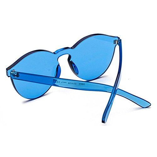 Juleya Glass C7 Mujeres Color One Red Piece Rimless Sunglasses Plastic Hombres Candy Lens p1Zrp7Wq
