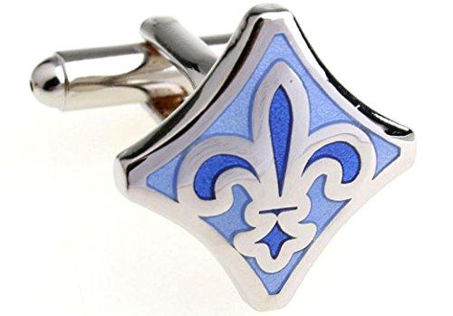 MRCUFF Fleur-de-lys Fleur De Lis Blue & White Pair Cufflinks in a Presentation Gift Box & Polishing Cloth (Fleur bld)