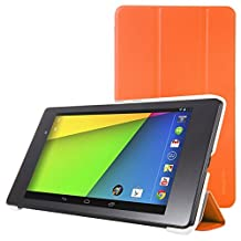 Google New Nexus 7 FHD 2nd Gen Case - MoKo Ultra Slim Lightweight Smart-shell Stand Cover with Auto Wake / Sleep for Google Nexus 2 7.0 Inch 2013 Generation Android 4.3 Tablet, ORANGE
