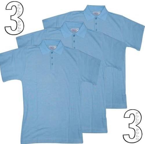 3 x Polo PK camisas niños y niñas Poly algodón pálido cielo azul ...