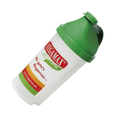 MEGAMAX Shaker [Protein Eiweiß Mixer] für auslaufsichere Shakes | Trinkflasche für Eiweißshakes u. Für Krafttraining, Bodybuilding & Fitness | Mixbecher mit Siebeinsatz Schraubverschluss, Messskala (grün, 500 ml)