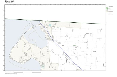 ZIP Code Wall Map of Blaine, WA ZIP Code Map Not Laminated ()