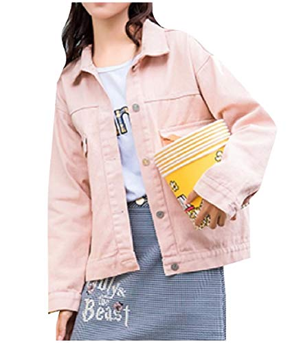 Pink Collar Jeans Jacket Turn Mogogo Down Loose Washed Casual Women's Button fvqw70