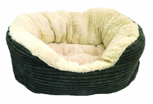 "40 Winks Oval Sleepers - Grey Jumbo Cord/Plush 25"" ped bed"