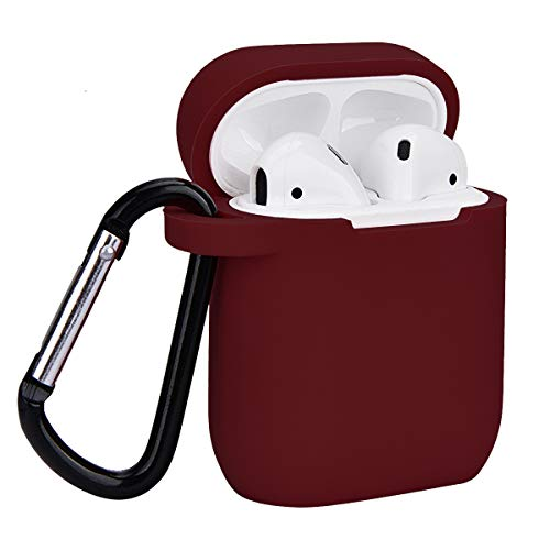 Airpods Case, Coffea AirPods Accessories Shockproof Case Cover Portable & Protective Silicone Skin Cover Case for Apple Airpods 2 &1 (Front LED Not Visible) - Burgundy