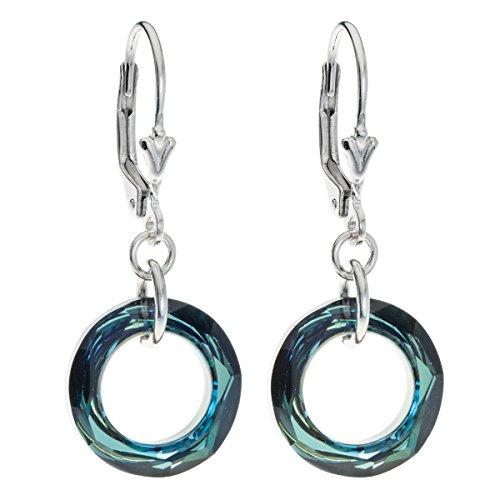 Sterling Silver Swarovski Elements Bermuda Blue Donut Crystal Dangle Earrings (Bermuda Blue Crystal)