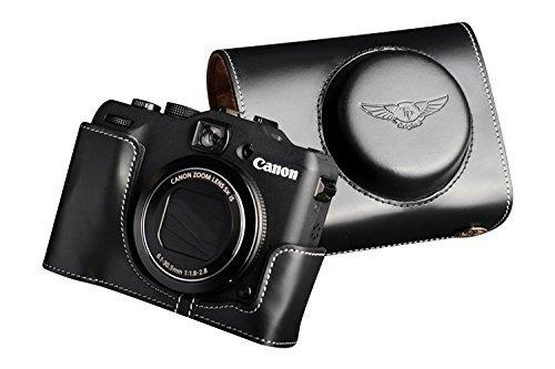 キャノン PowerShot G15用本革レンズカバー付カメラケース ブラック B07TCP9DV7 レンズカバー付ケース&ストラップTP1881 FreeSize