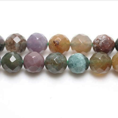 Fancy 3 Strand - Strand of 44+ Mixed Fancy Jasper 8mm Faceted Round Beads - (GS1659-3) - Charming Beads