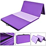Giantex 4'x8'x2 Gymnastics Mat Folding PU Panel Gym Fitness Exercise (Pink/Purple)