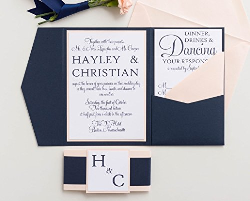 Custom Wedding Invitation Set with Holder and Envelopes, Modern Calligraphy, Hayley (Opal Invitations)