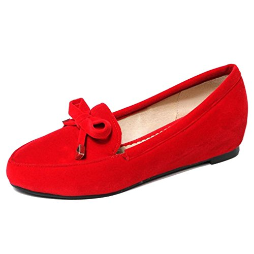 Pumps Red Shoes TAOFFEN Women's Casual On Slip 6wp0Z1