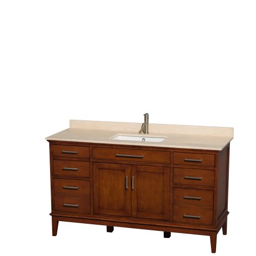 Wyndham Collection Hatton 60 inch Single Bathroom Vanity in Light Chestnut, Ivory Marble Countertop, Undermount Square Sink, and No Mirror