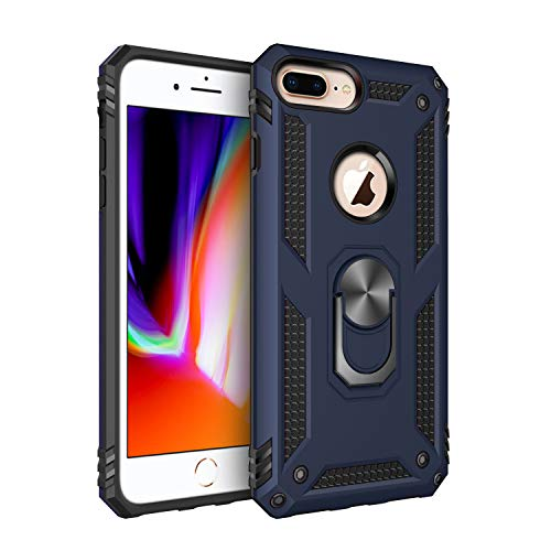 """iPhone 7 Plus iPhone 8 Plus Case, Extreme Protection Military Armor Dual Layer Protective Cover with 360 Degree Unbreakable Swivel Ring Kickstand for iPhone 7 Plus iPhone 8 Plus 5.5"""" Blue"""