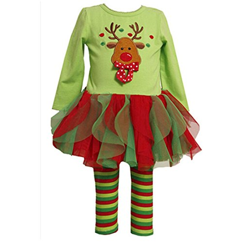[Mosunx(TM) Cute Girls Christmas Outfits Long Sleeve Dress+Pants Clothes (6T, Green)] (Christmas Outfit)