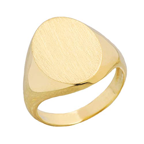 - Men's Bold 14k Yellow Gold Engravable 10mm Oval Top Signet Ring (Size 10.75)