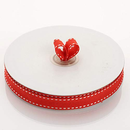 """Tableclothsfactory 5/8"""" Grosgrain Ribbon with Stitched Edges-Red"""