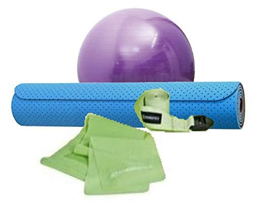 Kit Treino Yoga com faixa elástica tipo thera band, tapete 173cm x 61cm, bola suíça 40cm, corda de apoio para exercicios - Wct Fitness 5001