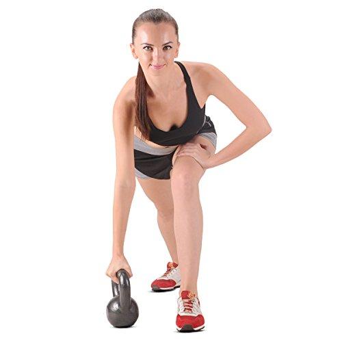 FEIERDUN 40lbs Iron Kettlebells Exercise Fitness Kettlebell With Workout Poster,Black