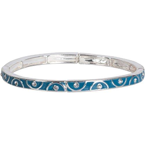 Heirloom Finds Teal Blue Enamel Curves and Crystals Stretch Bangle Bracelet ()
