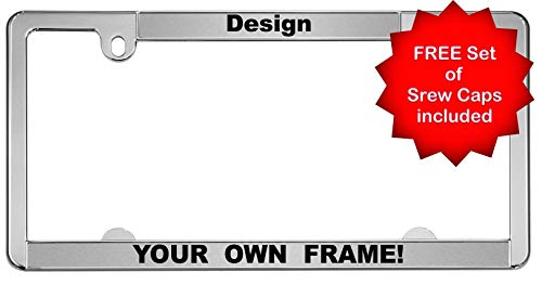 Custom Personalized All-States | Slimline 2 Hole Chrome Metal Car License Plate Frame with Free caps - Silver/Black