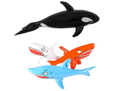 (Cirdan Inflatable Shark and Whale Bundle: 36 Inch Inflatable Whale and Three 24 Inch Inflatable Shark for Pool and Party Decorations)