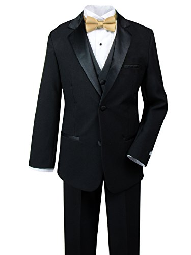Spring Notion Big Boys' Modern Fit Tuxedo Set, No Tail 2T Black-Antique Gold ()