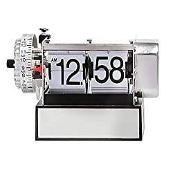 BOWCORE Retro Auto Flip Silent Clock, Metal Mechanical Page Turning Table Clock, Digital Display Alarm Clock Decorating Home and Office, H6CM × L13CM × D9M (Color : White)