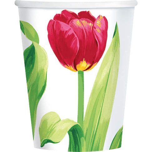 Bright Tulips 9oz Cups (8 Pack) - Party Supplies