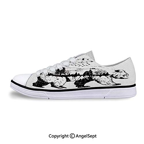 - Unisex Canvas Shoes Double Exposure with Forest Trees Low-Top Sneakers