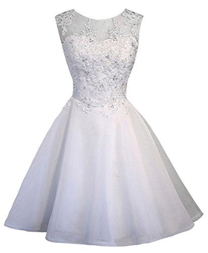 V.C.Formark Floral Lace Tulle Evening Gown Short Bridesmaid Dress For Womens,White,M