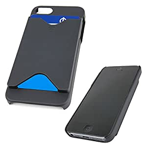 DURAGADGET Black Hard Protective Case For iPhone 5S & 5 With Ergonomic Back Mounted Credit Card Holder And Cutouts For Camera And Connections