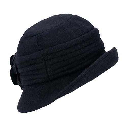 Womens Gatsby 1920s Winter Wool Cap Beret Beanie Cloche Bucket Hat A299 ( Black) at Amazon Women s Clothing store  cd42a4df3b10