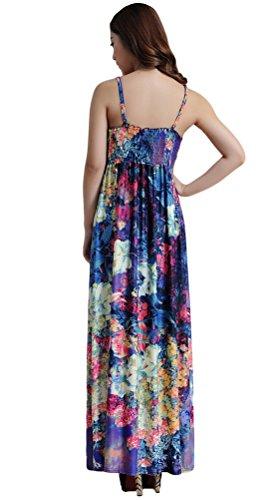 Vogstyle Mujer Impresa floral de Boho falda larga vestidos para la playa para el verano Estilo-5 Violeta