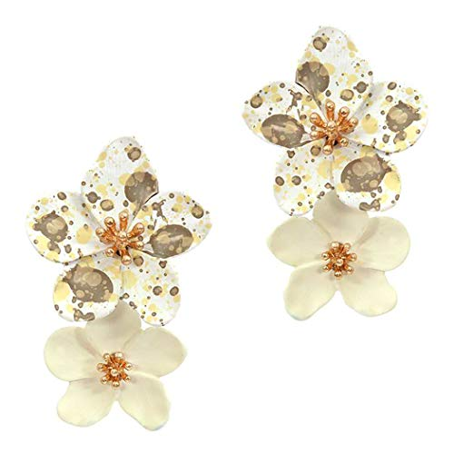 Rosemarie Collections Women's Double Metal Flower Dangle Drop Post Earrings (Spotted/Cream)