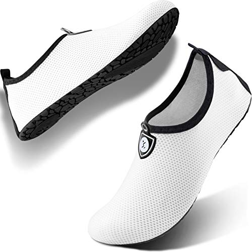 SIMARI Anti Slip Water Shoes for Women Men Summer Outdoor Beach Swim Surf Pool SWS002 dot White 3-4