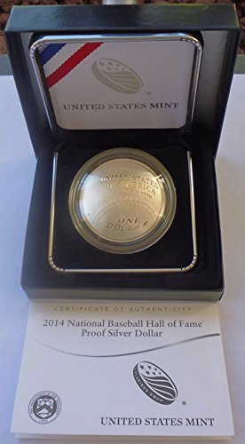 (2014 P US Commemorative Proof Silver Dollar National Baseball Hall of Fame $1 OGP US Mint)