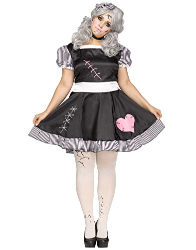 Black With Bows Footless Tights - Fun World Women's Plus Size Broken Doll Costume, Multi, XX-Large