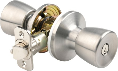 Brinks 2710-130 Mobile Home Keyed Entry Tulip Style Door Knob, Stainless Steel