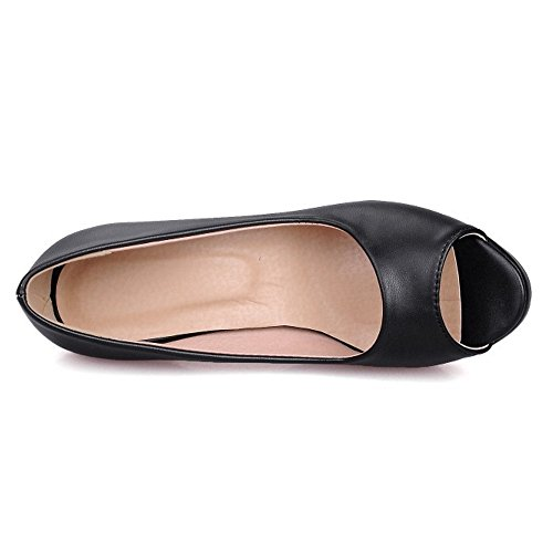 COOLCEPT Mujer Moda Sin Cordones Sandalias Peep Toe Tacon Embudo Zapatos Negro