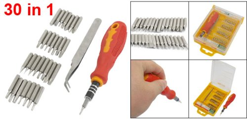 Rubber Handle w 30pcs Slotted Phillips Hex Tri-Wing Screwdriver Bits