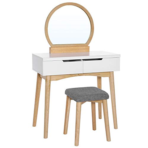 VASAGLE Vanity Table Set with Round Mirror 2 Large Drawers with Sliding Rails Makeup Dressing Table with Cushioned Stool, Natural and White URDT11K