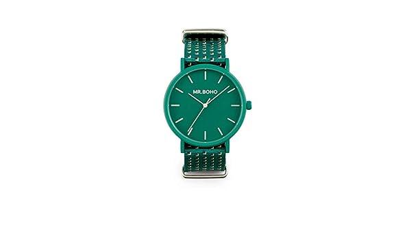 Reloj Mr.BOHO Mujer en Color Verde Correa Poliester. 00728667: Amazon.es: Relojes